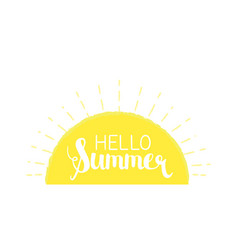 sun rays background with hello summer letters vector image