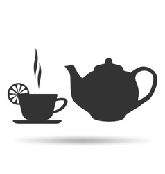 A Cup of hot tea with lemon and teapot vector image