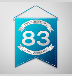 blue pennant with inscription eighty three years vector image vector image