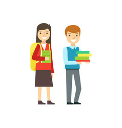 boy and girl smiling with backpacks and books vector image vector image