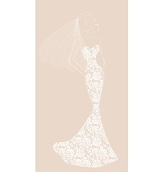 bride with veil vector image vector image