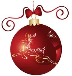 Christmas ball and gold reindeer vector image vector image