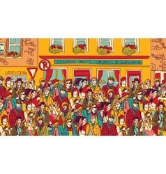 Crowd happy people on the street vector