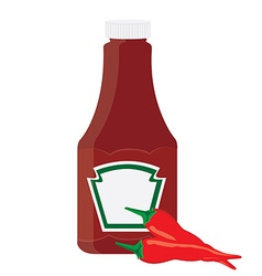 Ketchup bottle and chilli pepper vector image vector image