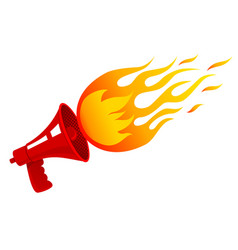 red vintage megaphone and flame vector image
