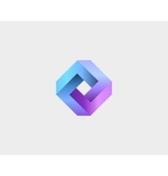 Abstract infinity cube logo design template vector image