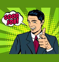 pop art man pointing finger vector image