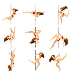 woman pole dancer dancing poses on pole vector image vector image