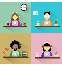 Worker sitting at the table with computer vector image