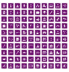 100 team building icons set grunge purple vector image