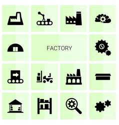 14 factory icons vector image