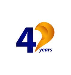 40 years anniversary celebration gold blue unique vector