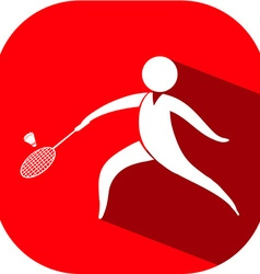 Badminton icon on red badge vector