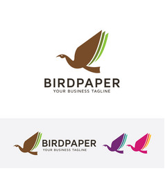 bird paper logo design vector image