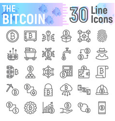 Bitcoin line icon set cryptocurrency symbols vector