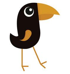 black bird with big beak color on white background vector image