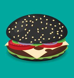 Black hamburger flat design vector