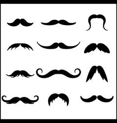 Black mustaches set vector image