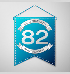 blue pennant with inscription eighty two years vector image