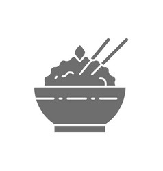 Bowl of cooked rice grey icon isolated on white vector