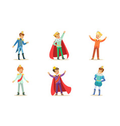 Boys in costumes kings and princes vector