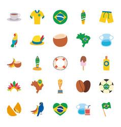 brazil flat style icon set design vector image