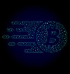 Btc coin polygonal frame mesh vector