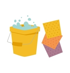 Bucket and cloth for cleaning housework flat vector image