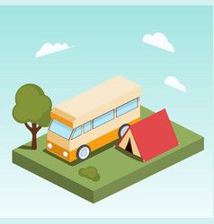 Camping motor home isometric vector