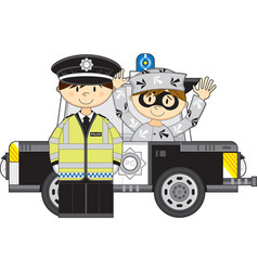 Cartoon policeman and police car with robber vector