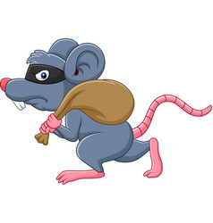 cartoon rat thief stealing on the bag and running vector image