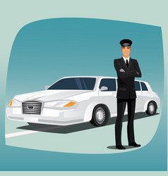 Chauffeur limousine or lincoln vector