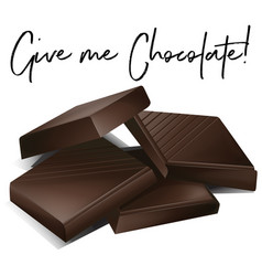 chocolate bars and phrase give me chocolate vector image