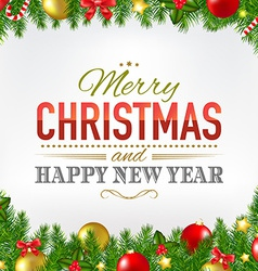 Christmas card with fir tree borders vector
