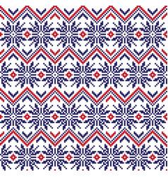 Christmas fair isle floral seamless pattern vector