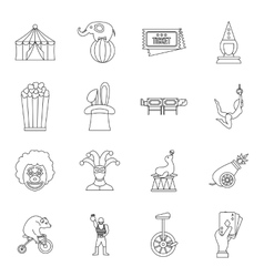Circus entertainment icons set outline style vector image