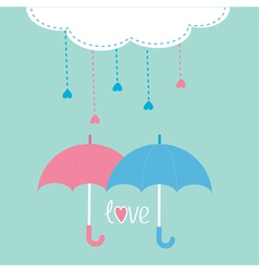 Cloud with hanging rain drops and two umbrellas vector image vector image
