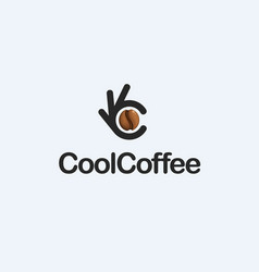 coffee bean ok symbol okay logo high vector image