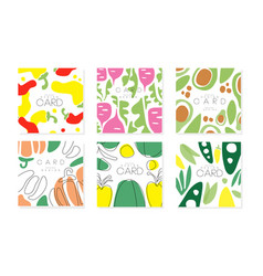 collection cards with vegetables pattern vector image