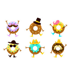 collection donuts cartoon characters humanized vector image