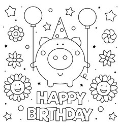 coloring page pig with vector image