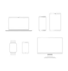 Computer devices mockup smartphone laptop tablet vector
