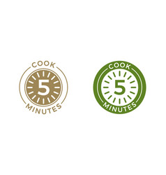 cook 5 minutes clock icon cereal and pasta cooking vector image