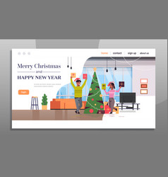 couple holding gift present boxes merry christmas vector image