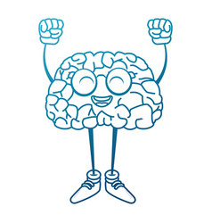 cute brain cartoon with hands up vector image