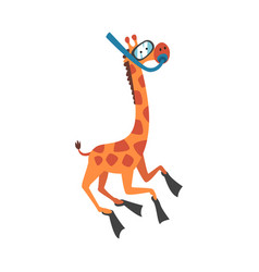 Cute giraffe in a diving mask and flippers funny vector