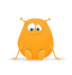 Cute orange monster vector