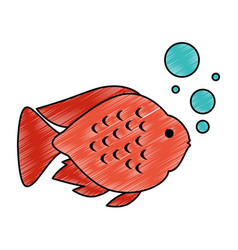 Cute ornamental fish with air bubbles vector