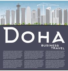 Doha skyline with grey skyscrapers vector
