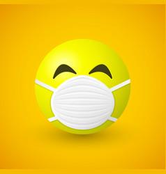 emoji with mouth mask coronavirus concept vector image